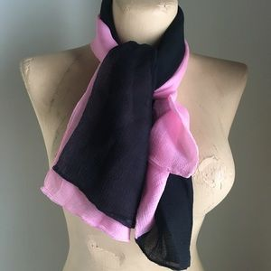 Lovely Silk Pink & Black Scarf from Paris